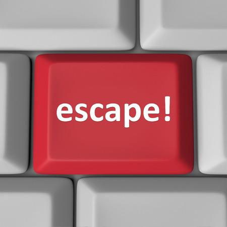 Ontsnappen woord op een rode computer toets of knop om te illustreren het corrigeren en opstaan of het bevestigen van een probleem, het ontsnappen uit een slechte situatie Stockfoto