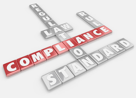 Compliance words spelled out in letter tiles to illustrate the importance of following rules, regulations, laws and guidelines in business or life Imagens