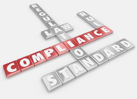 contabilidad financiera: Palabras de cumplimiento detallados en fichas de letras para ilustrar la importancia de seguir las normas, reglamentos, leyes y directrices en los negocios o la vida Foto de archivo