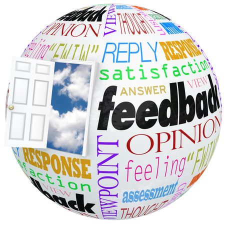 product reviews: Feedback globe or world with a door opening to show you inside customer opinions, reviews, comments, survey responses or other communication
