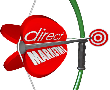 Direct Marketing words on an arrow pulled back on a bow and aiming at new prospects and customers through advertising and promotions