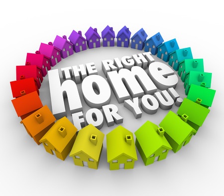 searching for: The Right Home for You words surrounded by a ring of colorful houses to motivate you to find the perfect property to buy for your family