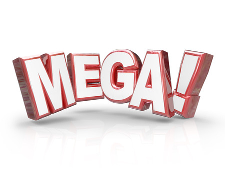 news update: Mega word in red 3d letters to illustrate a big, huge, humongous or giant deal, news update or special offer Stock Photo