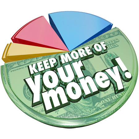 세금, 수수료, 비용 및 기타 비용 후 왼쪽 저축이나 소득의 일부 또는 백분율을 나타내는 원형 차트에 돈 단어 이상을 유지 스톡 콘텐츠