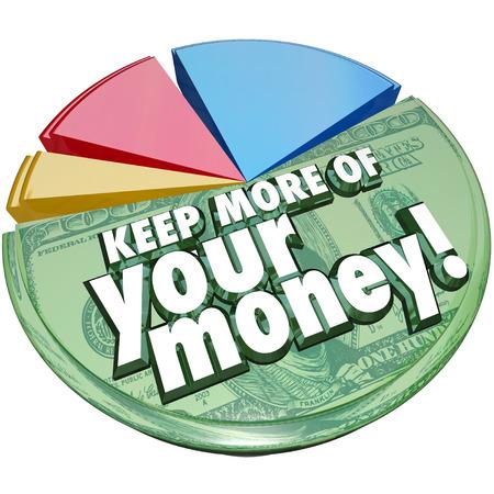 Mantener más de sus palabras dinero en un gráfico circular que muestra la porción o porcentaje de sus ahorros o ingresos después de impuestos, tasas, cargos y otros costos Foto de archivo - 28599176