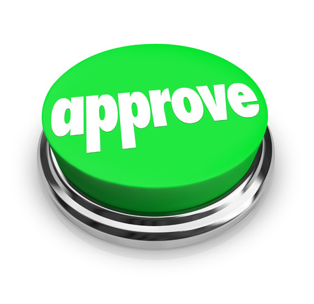 affirmed: Approve word on a round green button to illustrate acceptance or other positive response, decision, verdict or rating Stock Photo