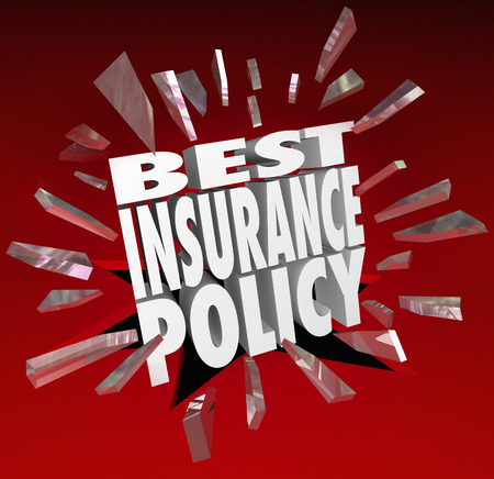 price uncertainty: Best Insurance Policy words smashing through red glass to illustrate shopping for and comparing health care coverage plans