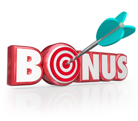 Bonus word in red 3d letters to illustrate an added premium, gift, gratuity, perk, benefit or special prize