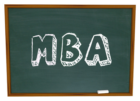MBA abbreviation for masters of business administration written or drawn on a chalkboard to illustrate an advanced degree at a college or university photo