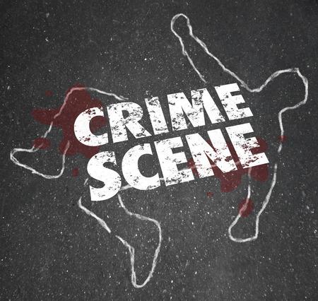 Crime Scene slova na křídovém obrys mrtvého těla nebo vraždy nebo zabití oběti zavřete prostor pro šetření a informuje veřejnost dál