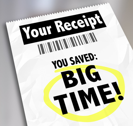 discounted: Your Receipt words on a store voucher or proof of purchase and You Saved Big Time to illustrate savings from a clearance or discount sale on goods or merchandise Stock Photo