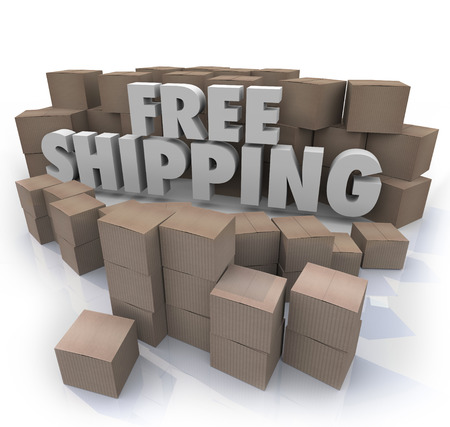 fulfillment: Free Shipping words surrounded by cardboard boxes in a warehouse or retail store fulfillment center Stock Photo