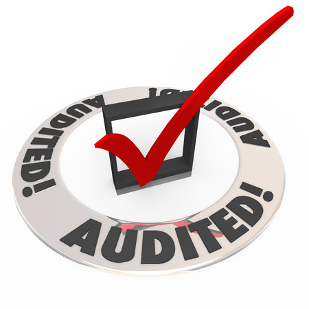 Audited word on a ring of words around a check mark and box to illustrate an inspection or approval process  photo