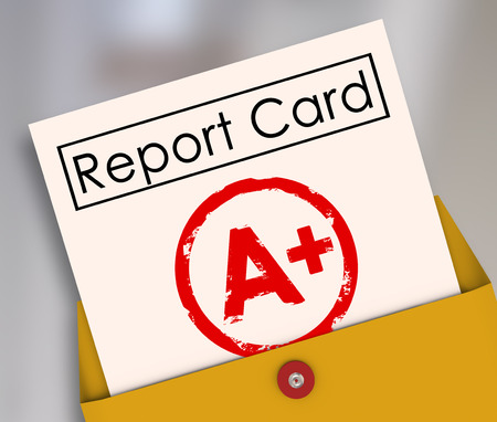 Report Card with A+ or Plus stamped on it within a yellow envelope to show your results, score, evlatuion, rating or review for a class or course Stock Photo