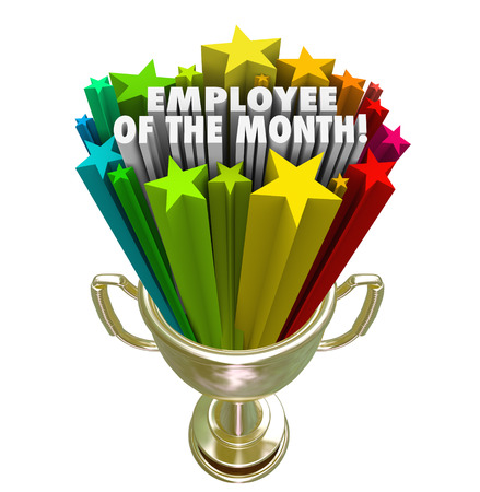 month: Employee of the Month words and colorful stars in a golden trophy awarded to the top performing worker or team member at a business, company, store or restaurant