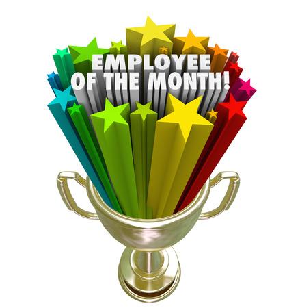 wort: Mitarbeiter des Monats Worte und bunte Sterne in einem goldenen Trophäe nach oben verliehen Durchführung Arbeiter oder Teammitglied an einem Geschäft, Firma, Geschäft oder Restaurant