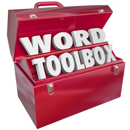 Word Toolbox 3d letters in een rood metalen container om te illustreren of symboliseren een set van vaardigheden, projecten en instructies aan kinderen of leerlingen leren spellen te helpen, te lezen of te begrijpen woordenschat