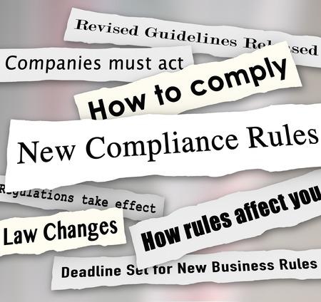 준수 더 많은 방법, 법률의 변경을 출시 개정 지침을 포함하는 뉴스에서 찢어진 새로운 준수 규칙 신문 헤드 라인 단어, 스톡 콘텐츠