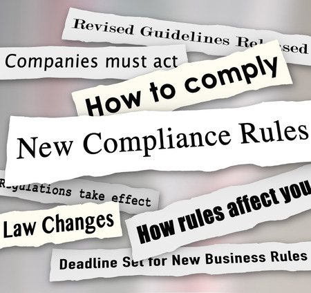 mitigate: New Compliance Rules newspaper headlines words torn from the news, including Revised Guidelines Released, Law Changes, How to Comply and more