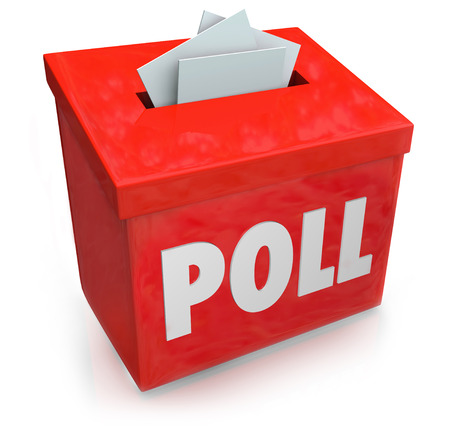 poll: Poll word on a red collection box for votes, survey reponses or answers to questions to gather opinions of customers, readers, visitors or voters Stock Photo