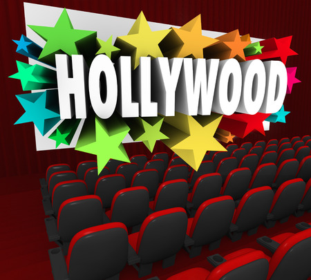 Hollywood word on a movie screen to illustrate show business industry producing movies, films, cinema and flicks for audiences to ejoy photo