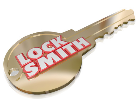 Locksmith word in red 3 letters on a gold key to illustrate a professional, worker, builder or craftsman who installs or fixes locks on homes and businesses Stock Photo