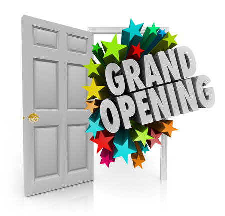 coming out: Grand Opening words and fireworks or stars coming out an open door to invite customers to come to your new store or business sale or event