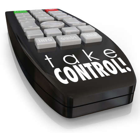 insist: Take Control words on a television remote control to illustrate positive attitude, ambition, assertive confidence and action to be aggressive and dominant in your career or life