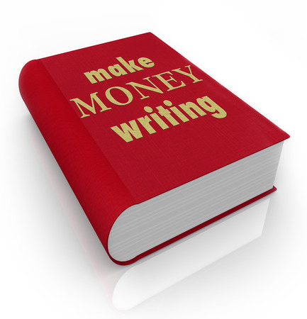 Make Money Writing title words on a book cover to illustrate earning income as a professional author or reporter photo