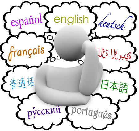 dialects: Many diverse languages in thought clouds above a thinker including english, spanish, german, french, russian, chinese, russian and japanese