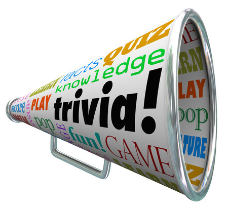 Trivia words on a bullhorn or megaphone to quiz or test your knowledge on pop culture and answer questions to win a contest Фото со стока