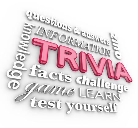 trivia: Trivia 3d words in a collage or background including questions, answers, knowledge, test, quiz, fun and game