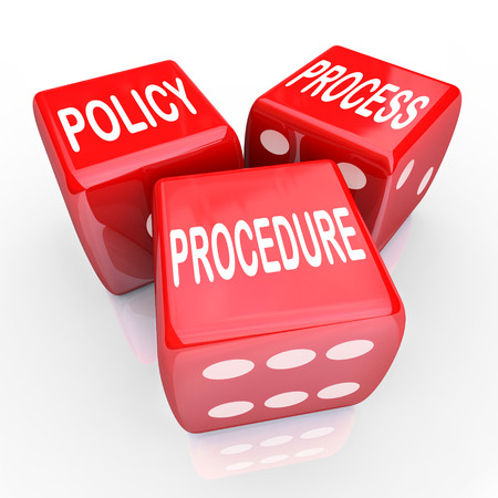 policies: Policy, Process and Procedure words on three red dice to illustrate a company or organizations practices, rules and regulations Stock Photo