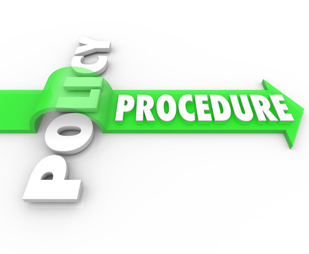 Procedure word on an arrow jumping over Policy to illustrate a business process that ignores official rules or regulations of the organization Stock Photo