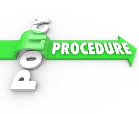 Słowo procedura na strzałce przeskakując nad Polityką zilustrować proces biznesowy, który ignoruje oficjalne zasady lub przepisy organizacji Zdjęcie Seryjne
