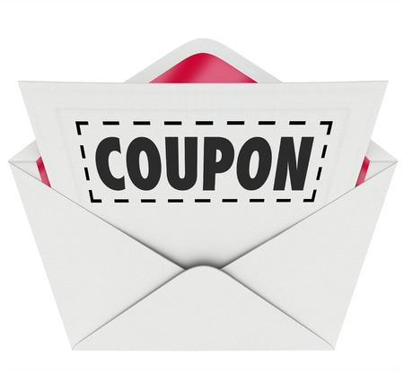 Coupon word with dotted line around it in an envelope for you to cut out and save at a sale or discount clearance event of a store