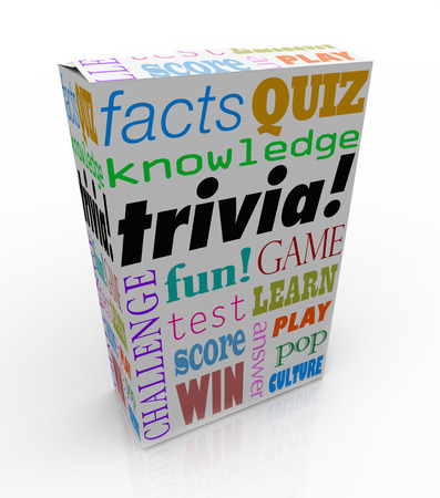 trivia: Trivia word on a box or package for a game of asking and answering questions on pop culture, or a quiz or challenge on unimportant information for you to win a prize or contest