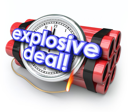 huge: Explosive Deals words on a ticking time bomb with clock and dynamite to illustrate the urgency of shopping at a special sale or discount clearance event at a store or shop Stock Photo