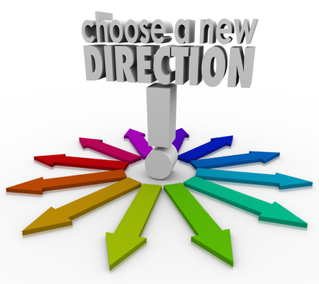 paradigma: Elija una Nueva Direcci�n palabras 3d para ilustrar las muchas opciones posibles antes de cambiar de trabajo o carrera, o en busca de inspiraci�n para seguir adelante en la vida