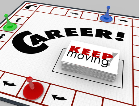 Career word on a board game and pieces moving around with cards reading Keep Moving photo