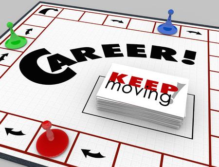 brettspiel: Karriere Wort auf einem Brettspiel und St�cke bewegen mit Karten lesen Keep Moving Lizenzfreie Bilder