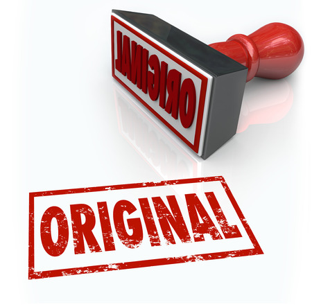 originator: Original word stamped in red ink to illustrate creativity, originality, uniqueness and competitive advantage as the first, authentic or official product or service Stock Photo