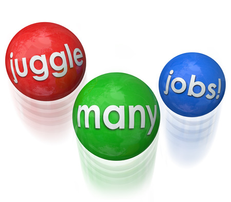 Juggle Many Jobs words on three balls in the air to illustrate doing many challenges at once and multi-tasking to be productive