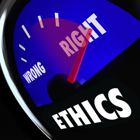 Ethics measured on a gauge to determine your level of good or bad behavior and right vs wrong actions