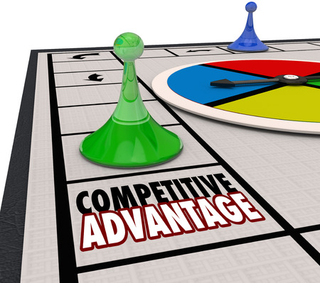 better chances: Competitive Advantage words on a board game background and piece moving around to be the winner Stock Photo