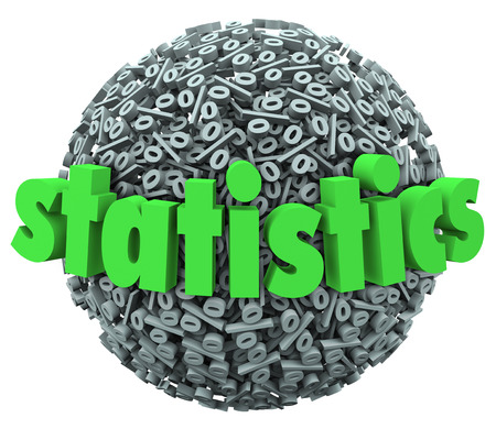 Statistics word on percentage sign ball or sphere to illustrate the study of mathematical probability Stock Photo - 29194064