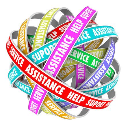 Steun, bijstand, hulp en ondersteuning woorden op een eindeloze cyclus van linten of wegen in een 3D-patroon Stockfoto