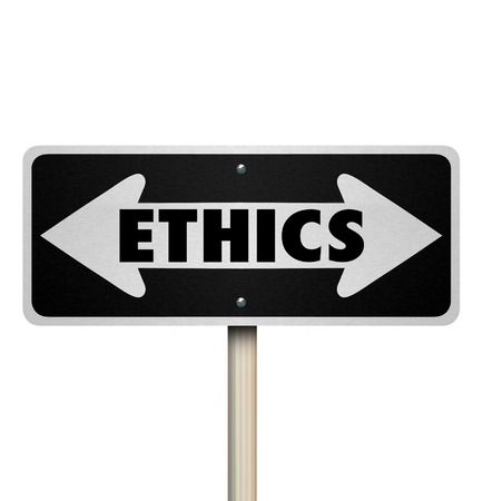 behave: Ethics word on a two way road sign to illustrate choosing good or bad decisions or doing right or wrong actions Stock Photo