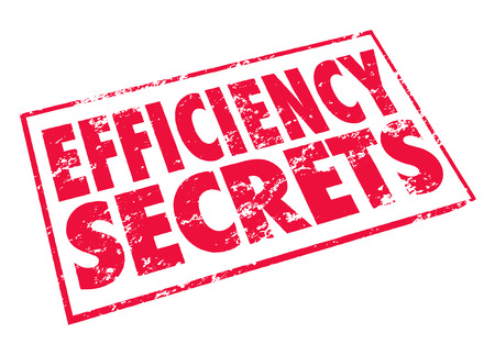 Efficiency Secrets words in a red stamp to illustrate information, tips and advice on improving effective productivity and output photo