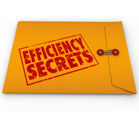 Efficiency Secrets words stamped onto a yellow envelope full of classified or confidential tips, advice, steps or other important information Stockfoto